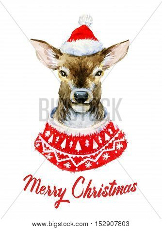 Beautiful image with hand drawn watercolor christmas deer