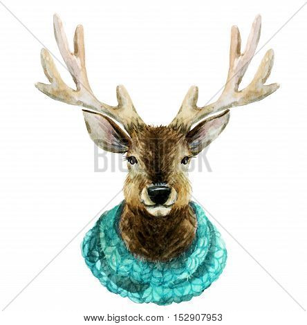 Beautiful image with hand drawn watercolor handsome deer