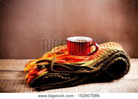 Scarf and cup of hot chocolate warm concept retro style