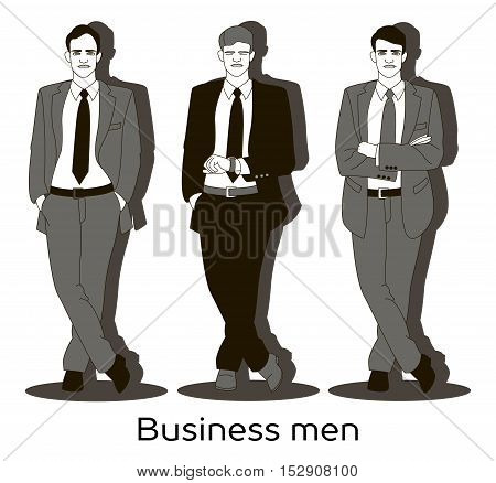 Set of business men in different poses isolated. Hands in pockets, looks at his watch and with hands crossed