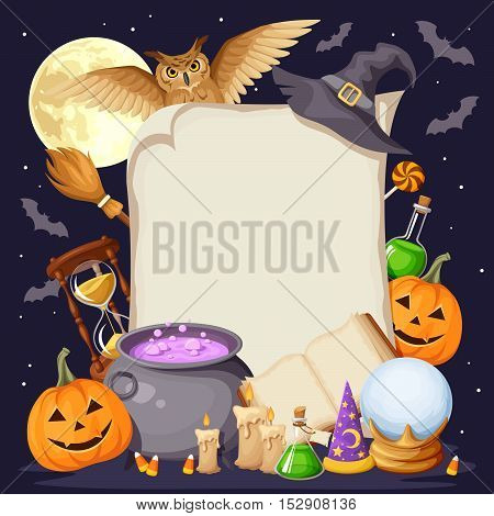Vector Halloween background card with magic symbols: book, cauldron, hourglass, owl, jack-o-lanterns, bats, broom, flasks, crystal ball, wizards and witches hats and candles.