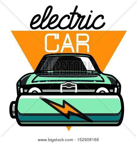 Color vintage electric car emblem. Color print on white background. Vector illustration, EPS 10