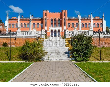 MARFINO, RUSSIA - AUGUST 23, 2015: Old manor in pseudo-Gothic style