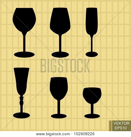 Stemware set. Silhouettes. Beverages. Recreation. Green background. For your design