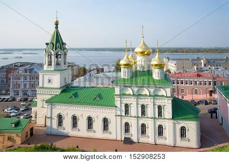 NIZHNY NOVGOROD, RUSSIA - AUGUST 27, 2015: Church of the Nativity of St. John the Baptist closeup, august day. Religious landmark