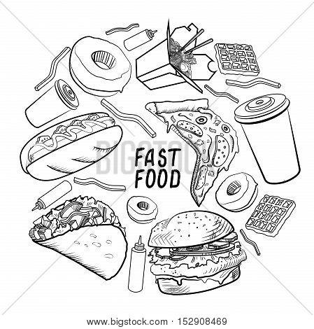 Fast food set in circle design. Vector illustration, EPS 10
