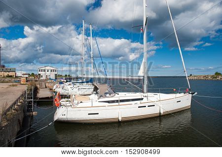 ENGURE, LATVIA - SEPTEMBER 6, 2016: Luxury yachts in Engure Harbour, Latvia. Engure is a village in the northern part of Engure municipality, Latvia, at the sea shore of the Gulf of Riga.