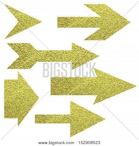 Set Of Various Gold Arrow Symbol.