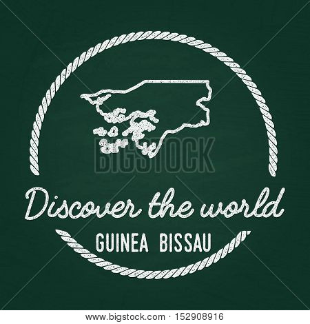White Chalk Texture Hipster Insignia With Republic Of Guinea-bissau Map On A Green Blackboard. Grung