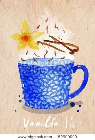 Watercolor teacup with vanilla tea vanilla flower drawing on kraft paper background