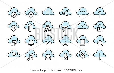 Cloud Icon set for web and mobile. Modern minimalistic flat design elements of cloud computing and wireless technology
