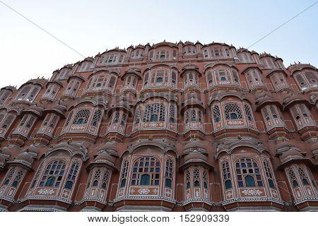 Wind Palace (Hawa Mahal) and its windows in Jaipur, Rajasthan, India