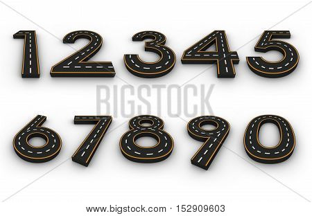 Number symbols of the Figures in the form of a road with white and yellow line markings 3d rendering