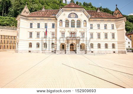 Vaduz, Liechtenstein - July 01, 2016: Government building in Vaduz city completed in 1905. This building is the seat of the government of the Principality of Liechtenstein