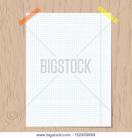 Realistic squared notebook paper on wooden background. Realistic vector background.