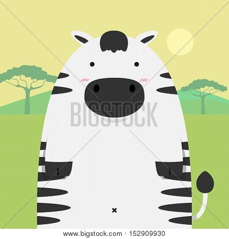 cute fat big zebra horse on light africa field background