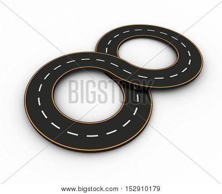 Infinity symbols of the Figures in the form of a road with white and yellow line markings 3d rendering