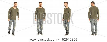 A Man Stand In Jeans Isolated On White Background
