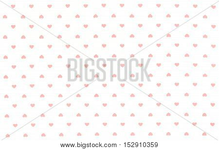 White Fabric with red hearts pattern, texture, background, retro style. Place your text or design.