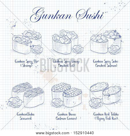 Vector sketch set, Gunkan Sushi on a notebook page