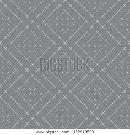 Vector seamless pattern. Abstract small textured background. Classical simple geometrical texture with repeating crosses rhombuses lines. Surface for wrapping paper shirts cloths.