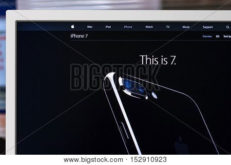 Cupertino United States - October 7 2016: iPhone 7 with iOS 10 on Apple Computers website. New high-tech smartphone with support for wireless AirPods. Photo of monitor screen with stylish phone