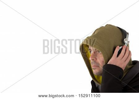 Man In Hoodie Listening To Headphones