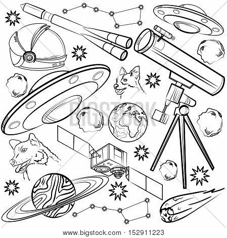 Set of space elements. Astronaut, Earth, Saturn, Moon, UFO, Rocket Comet Constellation Sputnik and stars