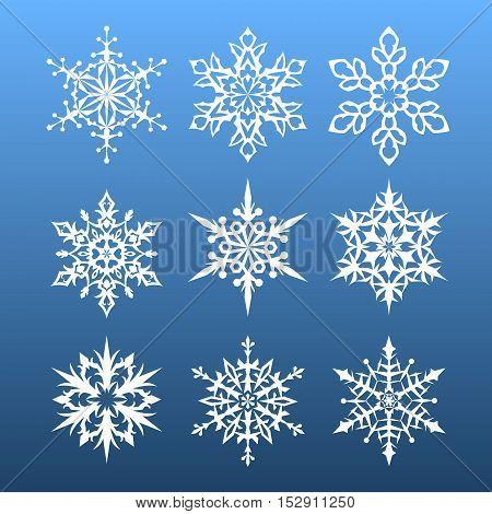 snowflakes set. nine design element. vector illustration