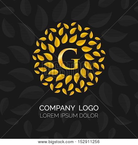 Golden Leaves vector logo design. Vector sign. Logo icon design