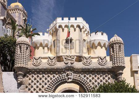Detail of Pena National Palace (Palacio Nacional da Pena) - Romanticist palace in Sintra