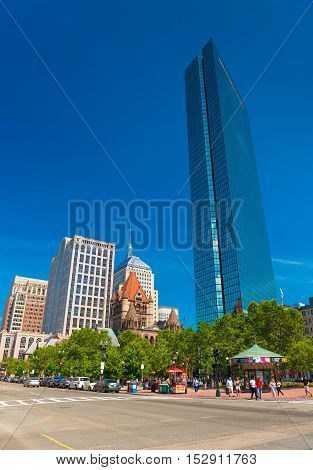 Boston, MA - June 2016, USA: John Hancock Building in Copley Square, Boston Back Bay
