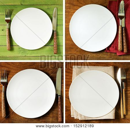 collage, set empty plate with cutlery and napkin on wooden background