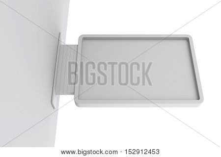 Signboard on wall. Isolated on white background. 3D rendering