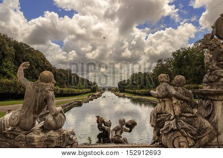 Caserta, Italy, May 1, 2016: Caserta Palace Royal Garden. Sculptural group: The Fountain of Ceres..It is a former royal residence in Caserta constructed for the Bourbon kings of Naples.