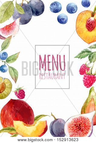Watercolor menu template with hand drawn fruits