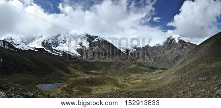 Stunning view from mountain pass Huapi into the valley, Peru