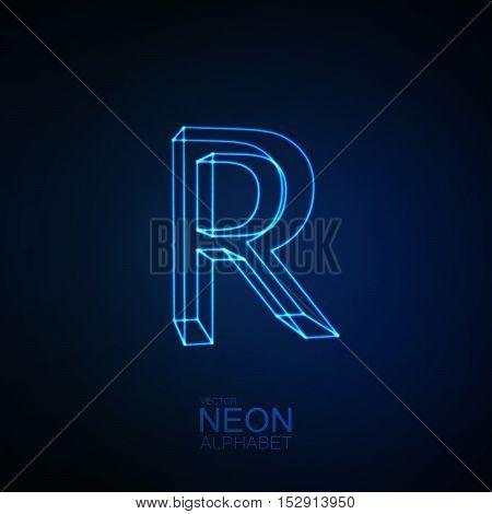 Neon 3D letter R. Typographic element. Part of glow neon alphabet. Vector illustration