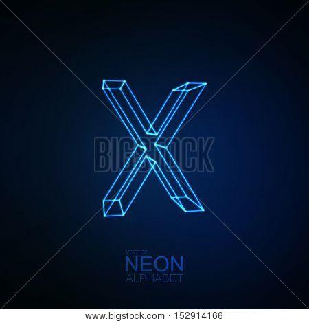 Neon 3D letter X. Typographic element. Part of glow neon alphabet. Vector illustration