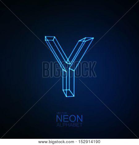 Neon 3D letter Y. Typographic element. Part of glow neon alphabet. Vector illustration
