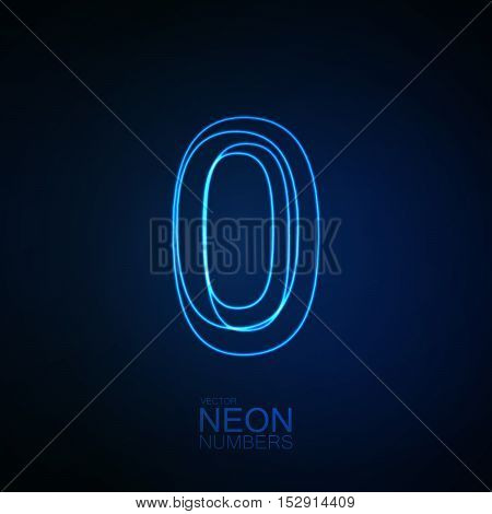 Neon 3D number 0. Typographic element. Part of glow neon alphabet. Digit zero. Vector illustration