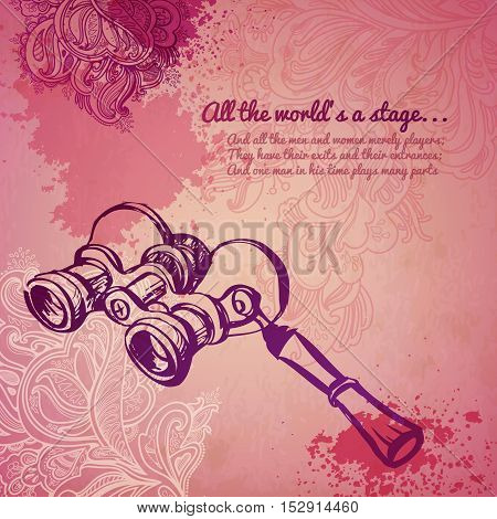 Vintage girl opera glass fashion vector banner. illustration drawn by hand, floral pattern