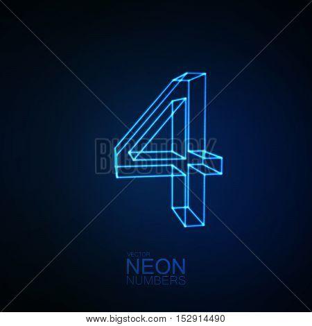 Neon 3D number 4. Typographic element. Part of glow neon alphabet. Digit four. Vector illustration