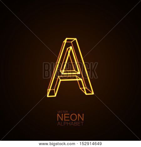 Neon 3D letter A. Typographic vector element for design. Part of glow neon alphabet. Vector illustration