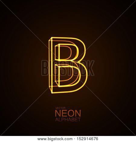 Neon 3D letter B. Typographic vector element for design. Part of glow neon alphabet. Vector illustration