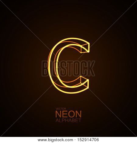 Neon 3D letter C. Typographic vector element for design. Part of glow neon alphabet. Vector illustration