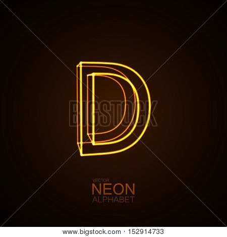 Neon 3D letter D. Typographic vector element for design. Part of glow neon alphabet. Vector illustration