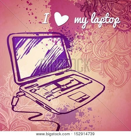 laptop for girls. vector sketch on a pink background