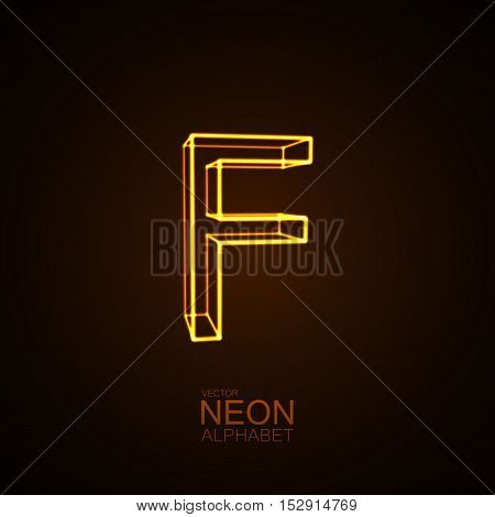 Neon 3D letter F. Typographic vector element for design. Part of glow neon alphabet. Vector illustration