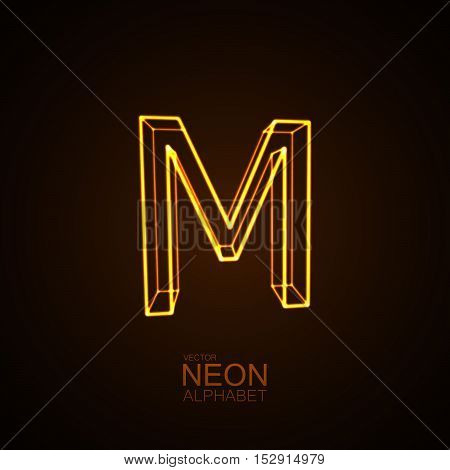 Neon 3D letter M. Typographic vector element for design. Part of glow neon alphabet. Vector illustration